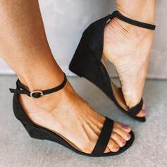 Dla kobiet Zamsz Obcas Koturnowy Sandały Koturny Otwarty Nosek Buta Z Klamra Tkanina Wypalana obuwie