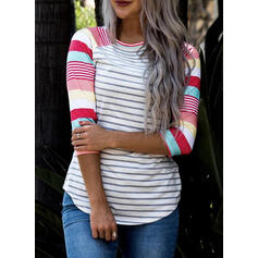 Striped Round Neck 3/4 Sleeves T-shirts