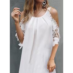 Lace/Solid 3/4 Sleeves/Cold Shoulder Sleeve Shift Above Knee Casual/Elegant Dresses