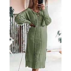 Jednolita Długie rękawy Bodycon Długośc do kolan Casual Sweter Sukienki