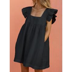 Jednolita Krótkie rękawy Koktajlowa Nad kolana Casual Tunika Sukienki