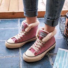Pentru Femei Piele de Căprioară Fară Toc Botine Cizme de Iarnă Deget rotund Cizme de iarna cu Lace-up Blană pantofi