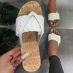 Mulheres PU Sem salto Sandálias Chinelos Chinelos com Alça trançada Cor sólida sapatos