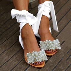 Mulheres PU Sem salto Sandálias Peep toe com Pérola Imitação sapatos