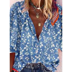 Nadruk Kwiatowy Dekolt w kształcie litery V Długie rękawy Zapięcie na guzik Casual Bluski koszulowe