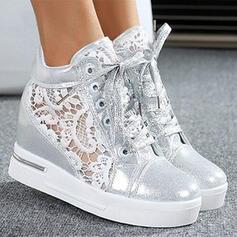 Mulheres PU Plataforma Plataforma Bota no tornozelo Low Top Toe rodada com Laço costurado Aplicação de renda sapatos