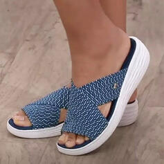 Dla kobiet Material Obcas Koturnowy Sandały Koturny Otwarty Nosek Buta Kapcie Obcasy Z Tkanina Wypalana Paski obuwie