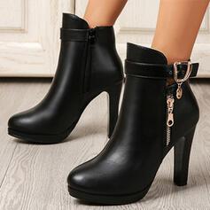 Bayanlar PU Tıknaz Topuk platform bot ayakkabı Ayak bileği çizmeler Düşük Üst topuk Sivri parmak Ile Toka Fermuar Katı Renk ayakkabı