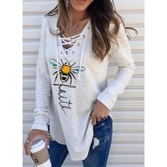 Animal Print Figure V-Neck Long Sleeves Sweatshirt