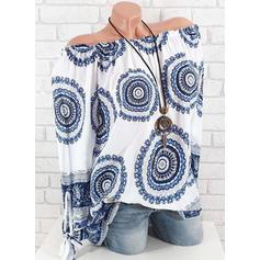 Potisk Odhalená ramena Dlouhé rukávy Neformální Bluze