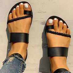 Pentru Femei PU Fară Toc Sandale Balerini Puţin decupat în faţă Şlapi Inel pentru degetul de la picior cu Cataramă pantofi
