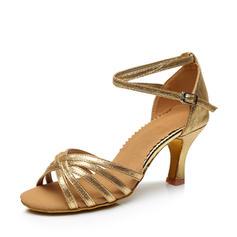 Kvinder Latin Hæle sandaler Kunstlæder med Ankel Strop Latin