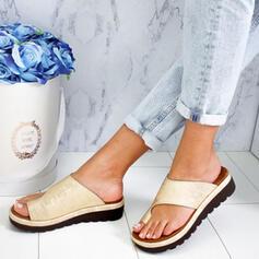 Mulheres PU Sem salto Sem salto Chinelos Anel de dedo do pé com Outros sapatos
