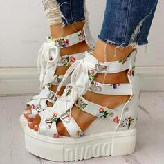 Women's PU Wedge Heel Sandals Platform Wedges Peep Toe With Buckle Flower Crisscross shoes