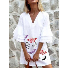 Animal Print Flare Sleeves Shift Above Knee Casual Dresses