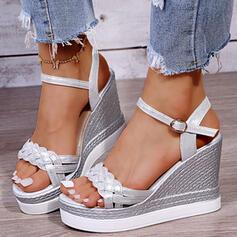 Bayanlar PU Sivri topuk Sandalet platform Takozlar Peep Toe Arkası açık iskarpin Ile Toka Örgülü Askı Katı Renk ayakkabı