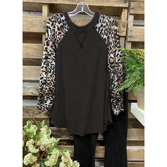 Color Block Leopard Round Neck Long Sleeves Casual Blouses