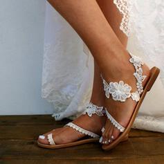 Pentru Femei Imitaţie de Piele Fară Toc Balerini cu Dantelă Împletită Floare pantofi