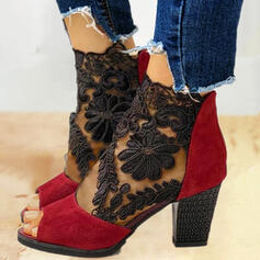 Dla kobiet Zamsz Tkanina mesh Obcas Slupek Sandały Czólenka Botki Obcasy Z Zamek błyskawiczny obuwie
