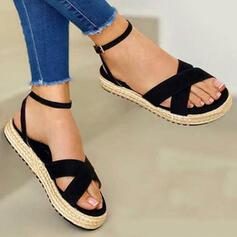 Bayanlar Tuval Düz topuk Sandalet Flats Peep Toe Ile Katı Renk çaprazımsı ayakkabı