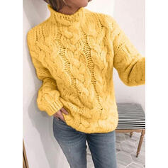 Solid Cable-knit Stand Collar Casual Sweaters