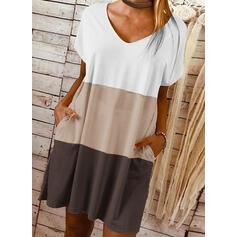 Color-block Krátké rukávy Splývavé Nad kolena Neformální Tričko Šaty