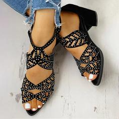 Women's Suede Chunky Heel Pumps Peep Toe With Rhinestone Zipper Hollow-out shoes
