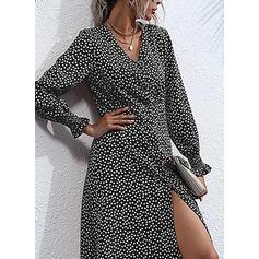PolkaDot Long Sleeves/Flare Sleeves A-line Knee Length Casual Skater Dresses