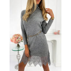 Lace/Solid Long Sleeves Sheath Knee Length Casual Sweater Dresses