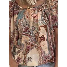 Распечатать Цветочный Шею С коротким рукавом Повседневная Блузы