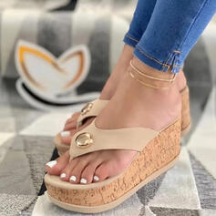 Kvinner PU Kile Hæl Sandaler Platform Kiler Titte Tå Flip-Flopper Tøfler Hæle med Profilering Hul ut sko