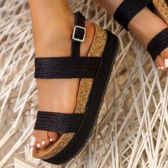 Frauen PU Flascher Absatz Sandalen Peep Toe mit Schnalle Schuhe