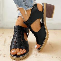 Bayanlar PU Tıknaz Topuk Sandalet Pompalar Peep Toe topuk Ile Fermuar ayakkabı