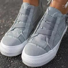 Női Vászon Lapos sarok Lakások -Val Cipzár Lace-up Szolid szín cipő