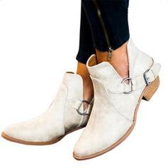 Kvinner PU Lav Hæl Støvler med Spenne sko
