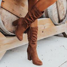 Mulheres Camurça Salto robusto Botas com Ruched Zíper Cor sólida sapatos