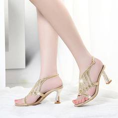 Women's Sparkling Glitter Low Heel Flip-Flops Peep Toe Slingbacks With Crystal