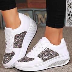 Bayanlar PU Diğerleri Flats Yuvarlak ayak Spor ayakkabı Ile Payet Bağcıklı ayakkabı ayakkabı