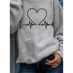 Print Heart Pockets Long Sleeves Hoodie