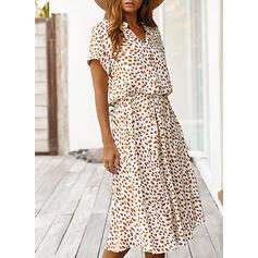 Print Short Sleeves A-line Casual/Elegant Midi Dresses