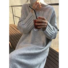 Sólido Punto Grueso Cuello De Tortuga Casuales Largo Suelto Vestido de Suéter
