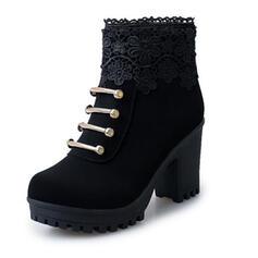 Bayanlar Kumaş Tıknaz Topuk bot ayakkabı Ayak bileği çizmeler Sivri parmak Ile Fermuar Çiçek Katı Renk Dantel ayakkabı