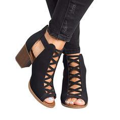 Pentru Femei PU Toc gros Sandale Încălţăminte cu Toc Înalt cu De la gât înafară pantofi
