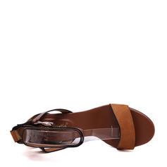 Bayanlar PU Tıknaz Topuk Sandalet Pompalar Peep Toe topuk Ile Toka ayakkabı