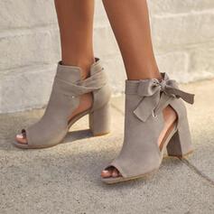 Női Szarvasbőr Chunky sarok Magassarkú Sarok -Val Csokornyakkendő Lace-up Hálós ruha Szolid szín cipő