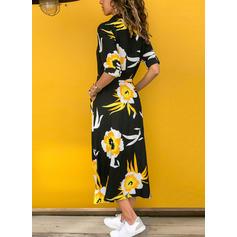 Nadrukowana/Kwiatowy Rękawy 1/2/Długie rękawy W kształcie litery A Koszula Casual Midi Sukienki