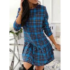 Tela escocesa Manga Larga Tendencia Sobre la Rodilla Casual Vestidos