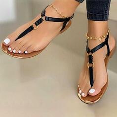 Frauen PU Flascher Absatz Sandalen Flip Flops Schuhe