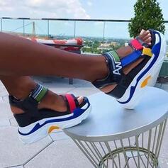 Dla kobiet Skóra z mikrofibry Obcas Koturnowy Sandały Platforma Koturny Otwarty Nosek Buta Obcasy Z Tkanina Wypalana Kolor splotu obuwie