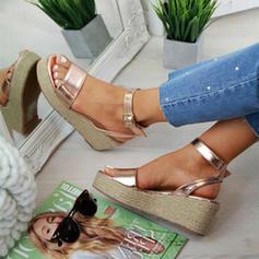 Bayanlar PU Sivri topuk Sandalet Takozlar Peep Toe topuk Ile Toka Hayvan baskı ayakkabı